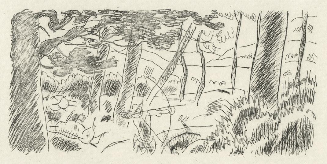 BOFA Gus (Gustave BLANCHOT, dit), Le loup et le chasseur © Adagp, Paris, 1928